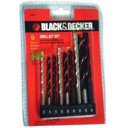Jogo de Brocas de Aço Rápido, Concreto e Aço Carbono 9 Peças Black + Decker