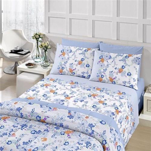Jogo de Cama Queen Royal Duplo Laila Azul Santista