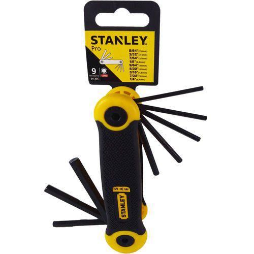 Jogo de Chave Hexagonal Canivete 5/64 a 1/4 9 Peças -69-265 Stanley
