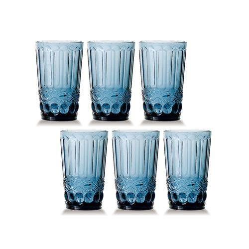 Jogo de Copos Elegance Azul 330ml Vidro Class Home