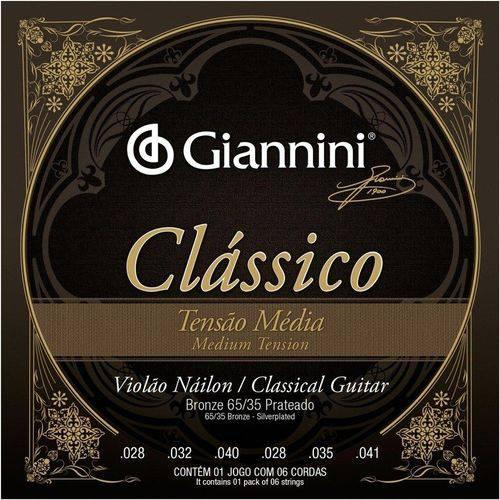 Jogo de Cordas Giannini Violão Nylon Classico Tensao Media Genwpm