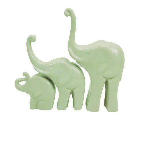 Jogo de Elefantes Familia Decorativos 3 Pecas Creme
