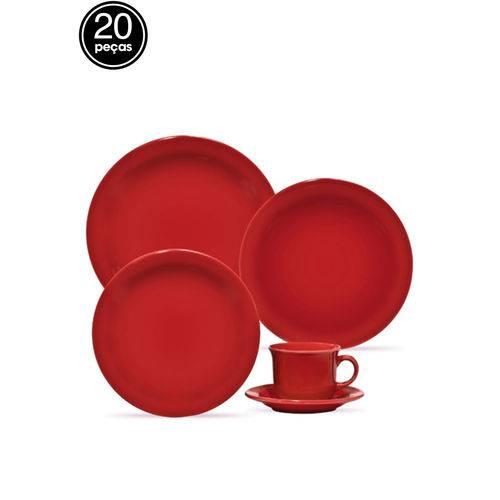 Jogo de Jantar Oxford Floreal 20 Peças Vermelho