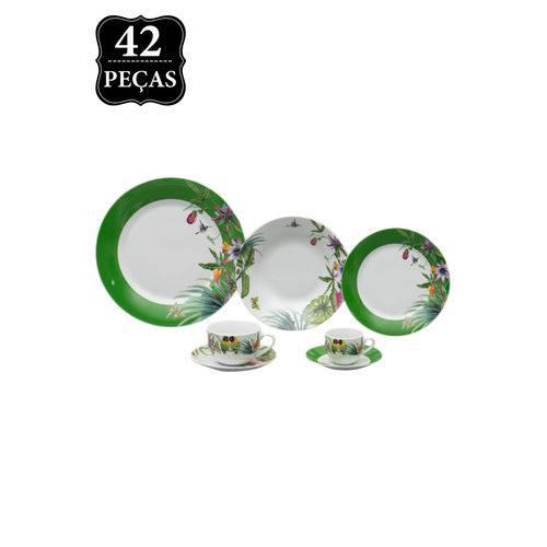 Jogo de Jantar Wolff Porcelana Vigo 42pçs Branco/Verde