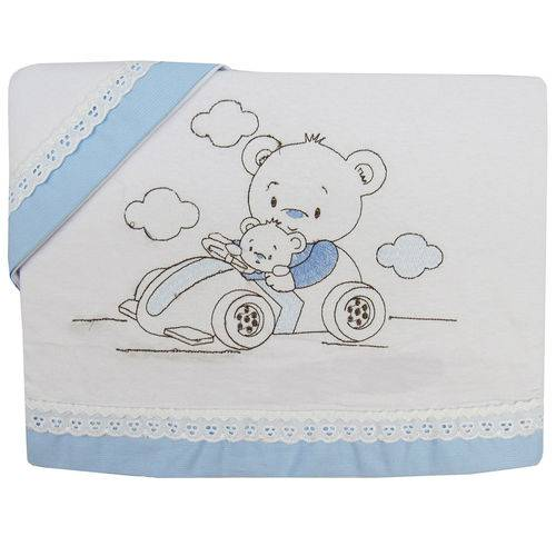 Jogo de Lençol Padrão Americano em Malha Masculino Ursinho Carrinho Azul