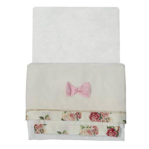 Jogo de Lençol para Berço Floral Luxo Rosa 3 Peças