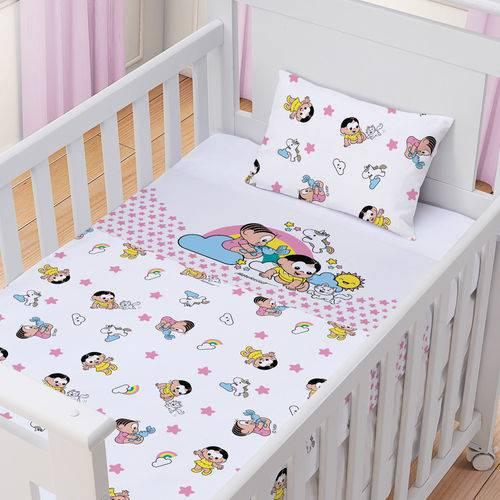 Kit 07 Pçs Turma da Monica - Jg de Lençol 3pçs + 1 Cobertor+ 03 Panos de Boca Feminino