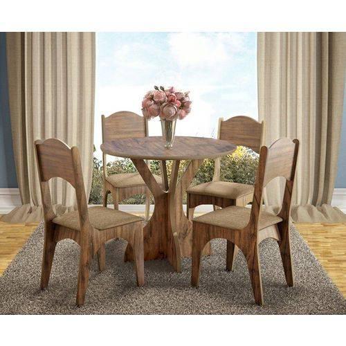 Jogo de Mesa 100% Mdf Tm10 com 4 Cadeiras Ca18 Nobre/chenille Marrom Dalla Costa