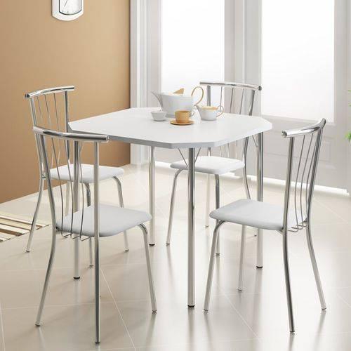 Jogo de Mesa 1510 e 4 Cadeiras 154 Cromado/branco - Carraro