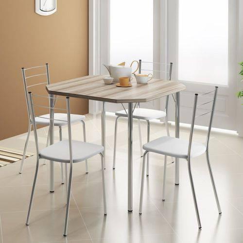 Jogo de Mesa 1510 e 4 Cadeiras 1703 Cromado/nogueira/branco - Carraro