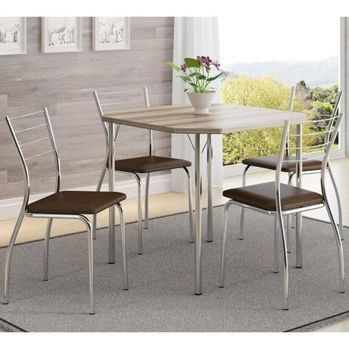 Jogo de Mesa 1510 e 4 Cadeiras 1700 Cromado/nogueira/cacau - Carraro