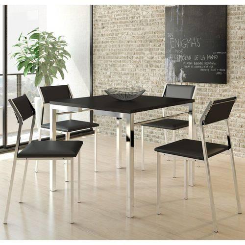 Jogo de Mesa 1525 e 4 Cadeiras 1709 Cromado/preto - Carraro