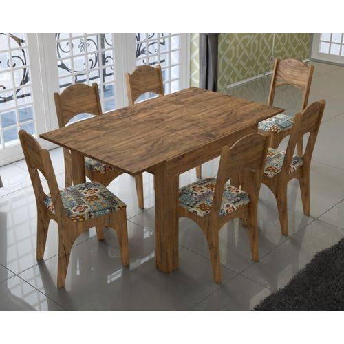 Jogo de Mesa Extensível Tm37 com 06 Cadeiras Ca18 Nobre/ladrilho Dalla Costa