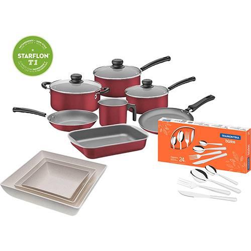 Jogo de Panelas Tramontina Versalhes Antiaderente 7 Peças Vermelho + Faqueiro Tramontina 24 Peças + Kit Saladeiras Sustentáveis EVO