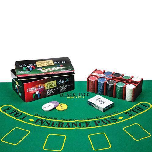 Jogo de Poker com 200 Fichas e Caixa em Metal - Prestige