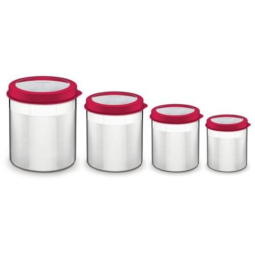 Jogo de Potes Tramontina Cucina em Aço Inox Tampa Plástica Vermelha com Visor 4 Peças Vermelho