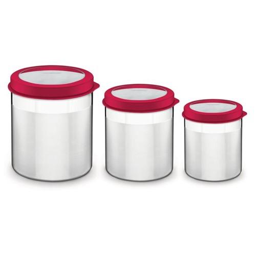 Jogo de Potes Tramontina Cucina em Aço Inox Tampa Plástica Vermelha com Visor 3 Peças Vermelho
