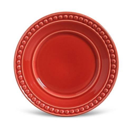 Jogo de Pratos de Sobremesa Atenas Porto Brasil Cerâmica Vermelho 6 Peças