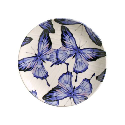 Jogo de Pratos de Sobremesa Coup Papillon Porto Brasil Cerâmica Azul 6 Peças