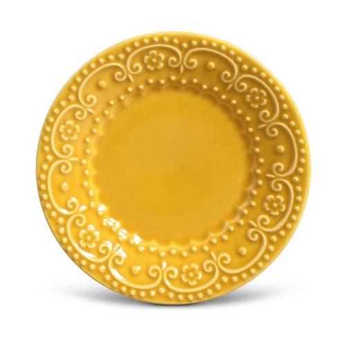 Jogo de Pratos de Sobremesa Esparta Porto Brasil Cerâmica Mostarda 6 Peças