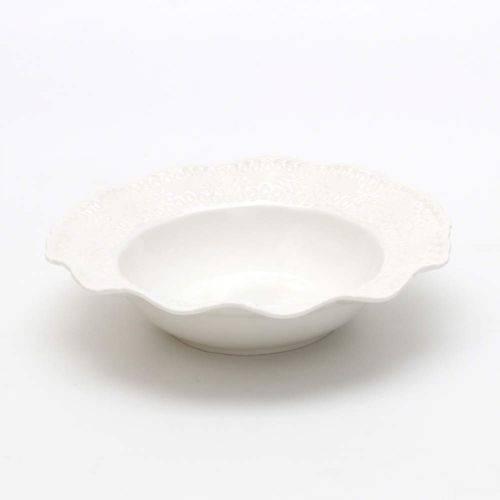 Jogo de Pratos Fundos Porcelana 6 Peças 21cm Princess Lyor Branco