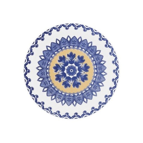 Jogo de Pratos para Sobremesa Floreal La Carreta 6 Peças Branco e Azul