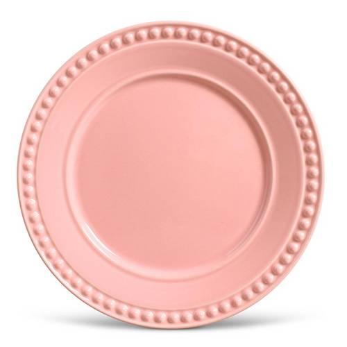 Jogo de Pratos Rasos Atenas Porto Brasil Cerâmica Rosa 6 Peças