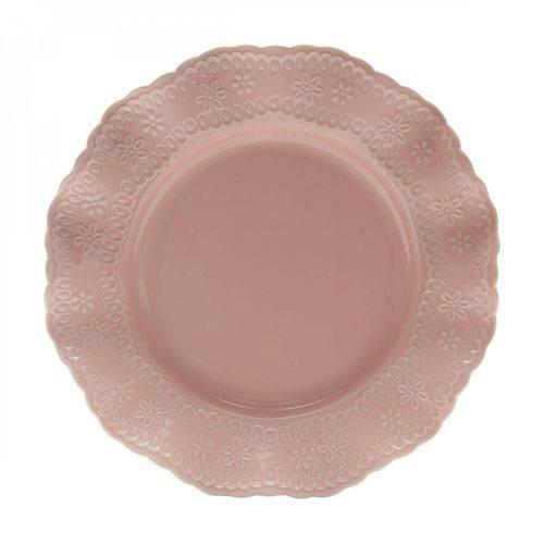 Jogo de Pratos Rasos Porcelana 6 Peças 25,4cm Princess Lyor Rosa