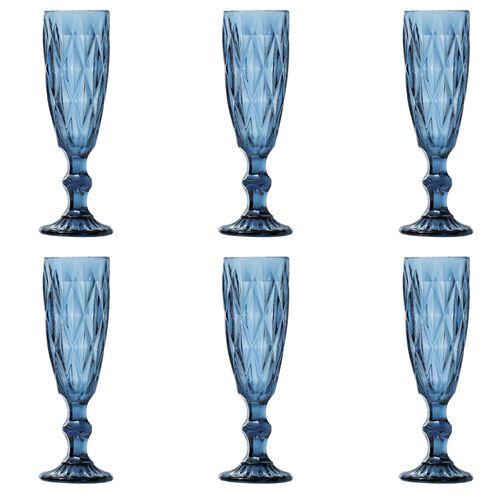 Jogo de Taças para Champanhe 6 Peças Lyor Diamond 140ml Azul