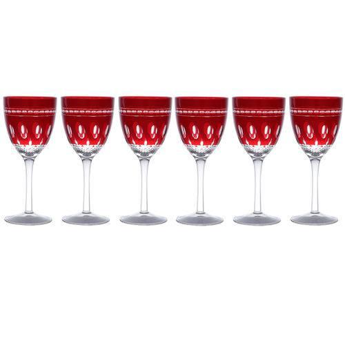 Jogo de Taças para Vinho em Vidro Lyor Luna 350ml 6 Peças Vermelho