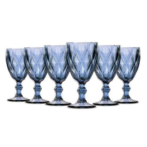Jogo de Taças Vinho Diamante Azul 210ml Class Home