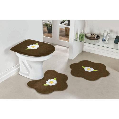 Jogo de Tapete de Banheiro 3 Peças Margarida Folha Tabaco