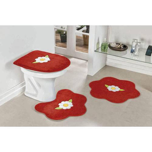 Jogo de Tapete de Banheiro 3 Peças Margarida Folha Vermelho