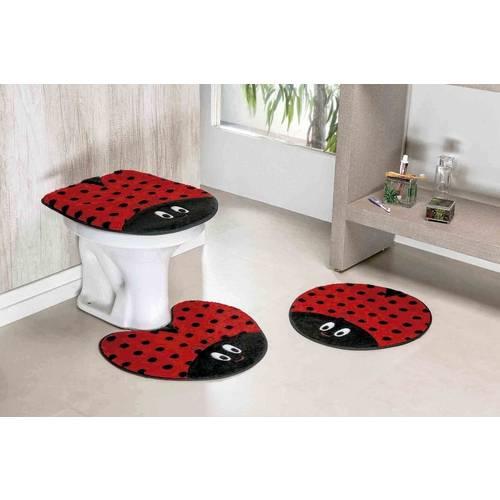 Jogo de Tapete para Banheiro Joaninha 3 Peças de Pelúcia Vermelho