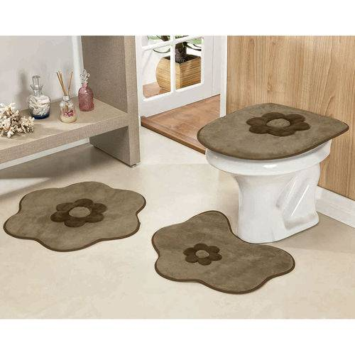 Jogo de Tapetes Banheiro 3 Peças Formato Margarida Cáqui
