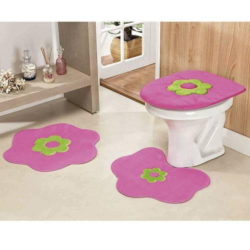 Jogo de Tapetes Banheiro Pelúcia 3 Peças Margarida Pink