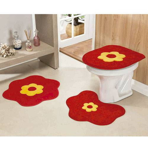 Jogo de Tapetes Banheiro 3 Peças Formato Margarida Vermelho