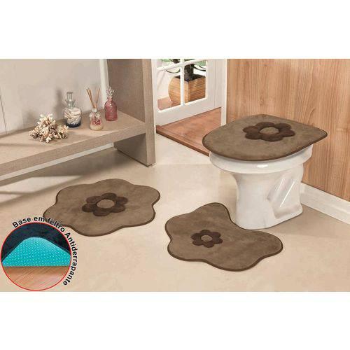 Jogo de Tapetes para Banheiro Antiderrapante Margarida Castor - 3 Peças