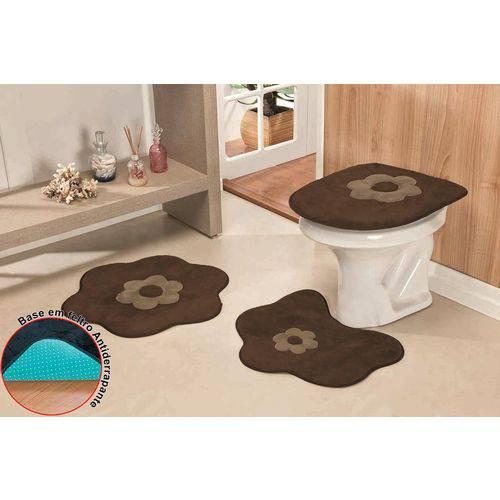 Jogo de Tapetes para Banheiro Antiderrapante Margarida Tabaco - 3 Peças