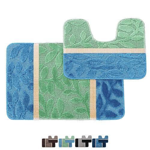 Jogo de Tapetes para Banheiro Devorê Leaf - Andreza