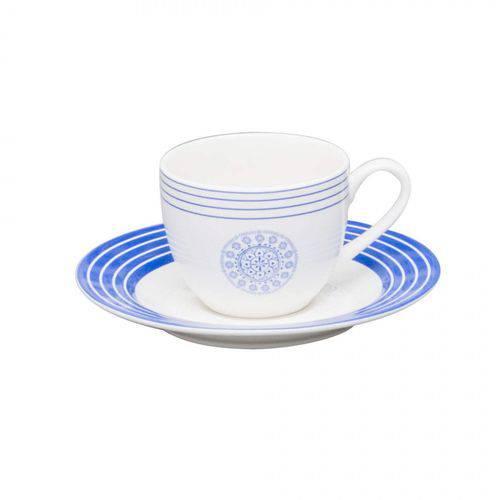 Jogo de Xícaras de Café com Pires Porcelana 12 Peças 80ml Rojemac Branco/Azul