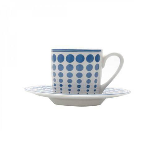 Jogo de Xícaras de Café com Pires Porcelana 12 Peças 90ml Rojemac Branco/Azul