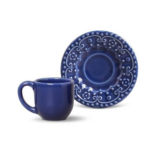 Jogo de Xícaras de Café Esparta Porto Brasil Cerâmica Azul Marinho 94ml 6 Peças