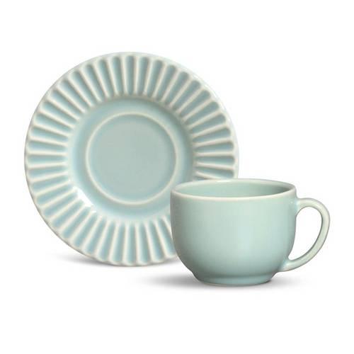 Jogo de Xícaras de Chá Plissé Porto Brasil Cerâmica Verde 197ml 6 Peças