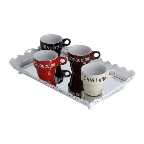 Jogo de Xícaras de Porcelana Café com Suporte para 5 Peças Bon Gourmet