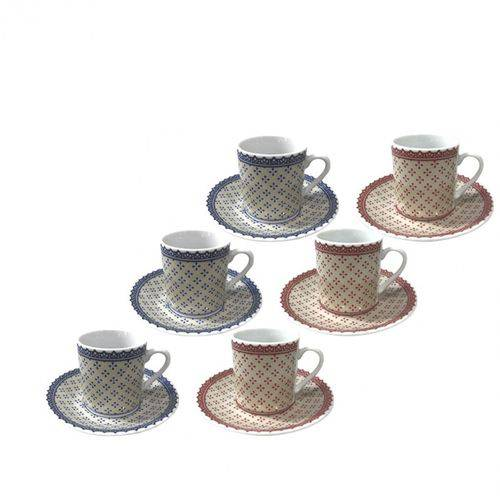 Jogo de Xícaras para Cafe Coffe Time Porcelana com 6un de 80ml