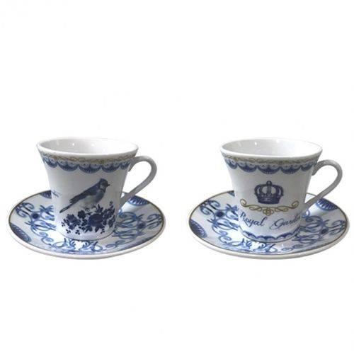 Jogo de Xícaras para Cafe Coffe Time Porcelana com 6un de 90ml