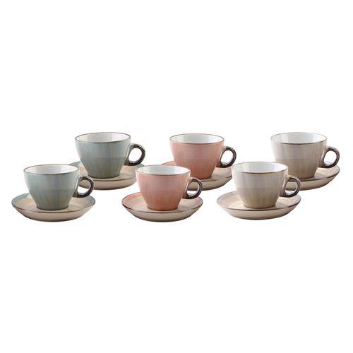 Jogo de Xícaras para Café em Porcelana Bon Gourmet Watercolor 80ml 6 Peças Color