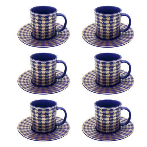 Jogo de Xícaras para Café em Porcelana Dm Brasil Blue Gold 6 Peças