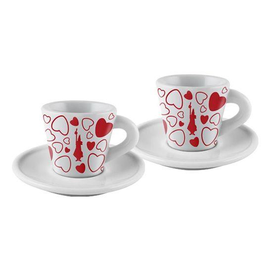 Jogo de 2 Xícaras para Café Espresso com Pires Cuore 45 Ml Branco